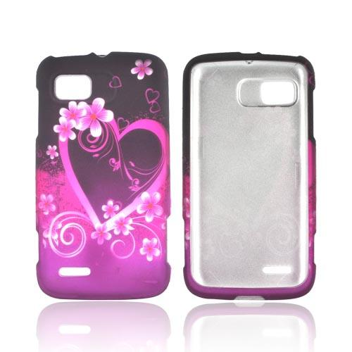 Motorola Atrix 2 Rubberized Hard Case - Hot Pink/ Purple Flowers & Hearts