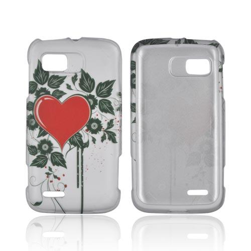 Motorola Atrix 2 Rubberized Hard Case - Red Heart w/ Green Leaves on Silver