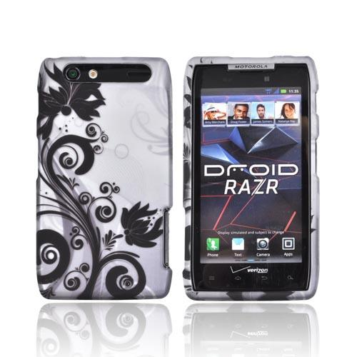 Motorola Droid RAZR Rubberized Hard Case - Black Vines & Flowers on Silver