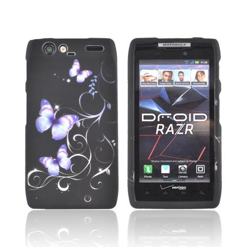 Motorola Droid RAZR Rubberized Hard Case - Purple Butterflies on Black