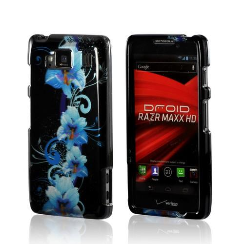 Blue Flower on Black Hard Case for Motorola Droid RAZR MAXX HD