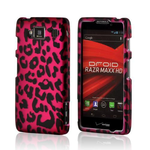 Pink/ Black Leopard Rubberized Hard Case for Motorola Droid RAZR MAXX HD