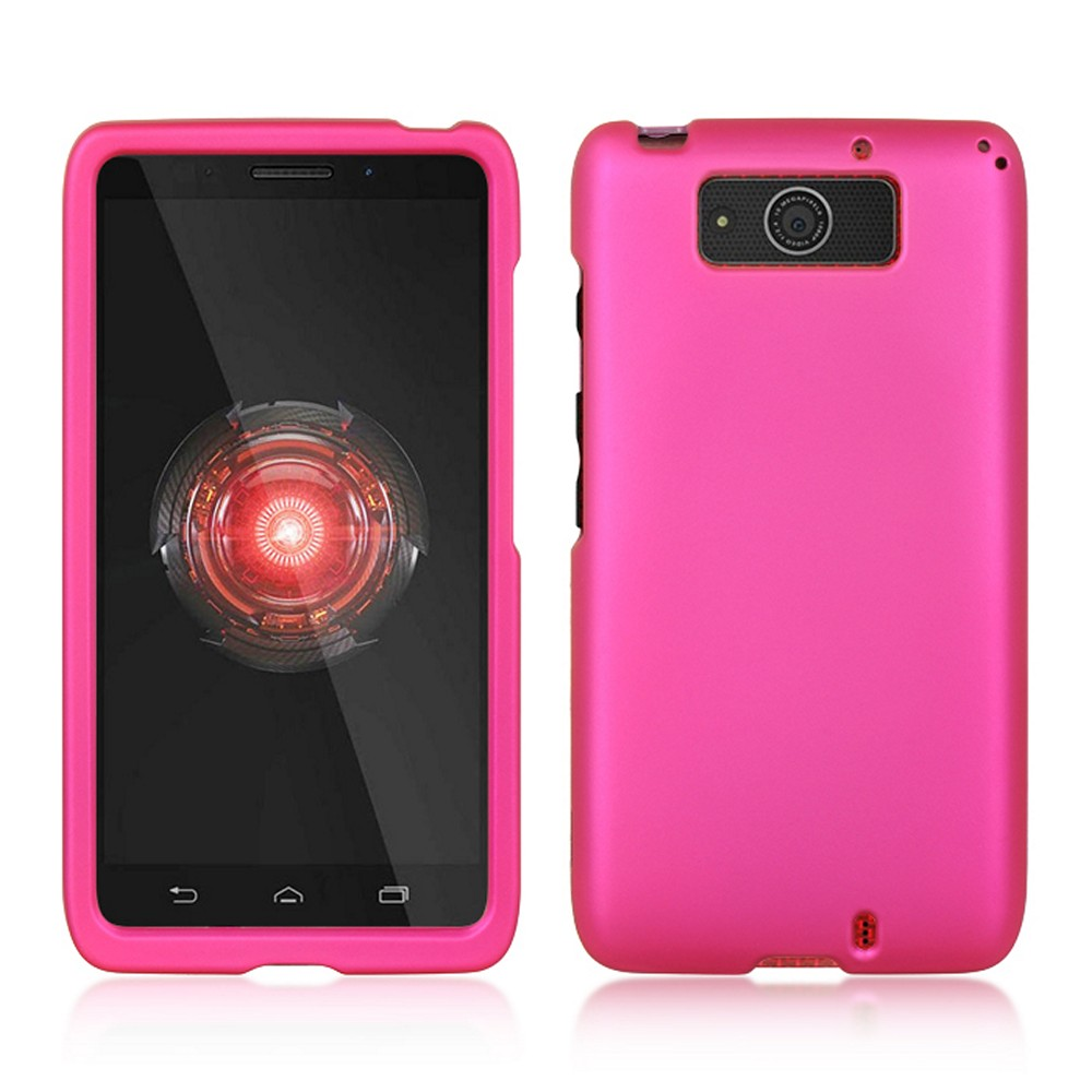 Hot Pink Rubberized Hard Case for Motorola Droid Ultra/ Droid MAXX