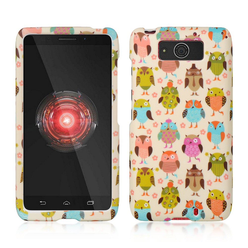 Retro Owls on Cream Rubberized Hard Case for Motorola Droid MAXX