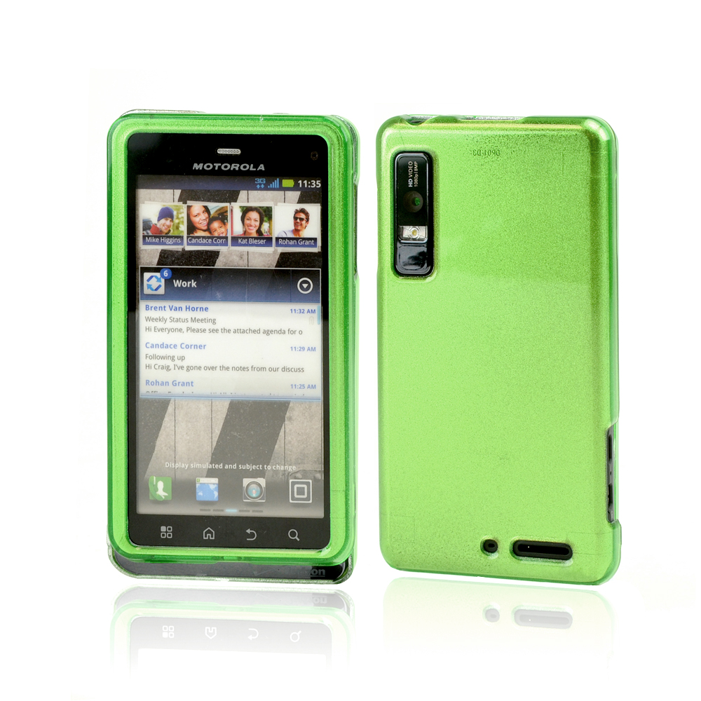 Motorola Droid 3 Rubberized Hard Case - Green