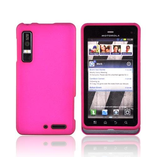 Motorola Droid 3 Rubberized Hard Case - Rose Pink