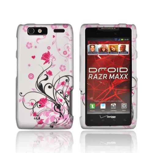 Motorola Droid RAZR MAXX Rubberized Hard Case - Black Vines & Pink Flowers on Gray