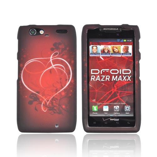 Motorola Droid RAZR MAXX Rubberized Hard Case - Red Heart on Stars