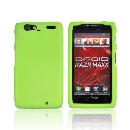 Motorola Droid RAZR MAXX Rubberized Hard Case - Neon Green