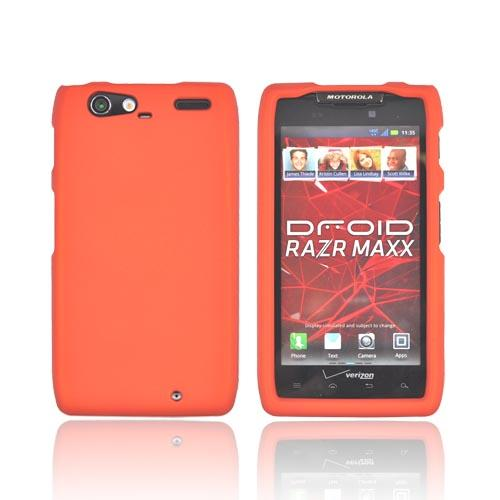 Motorola Droid RAZR MAXX Rubberized Hard Case - Orange