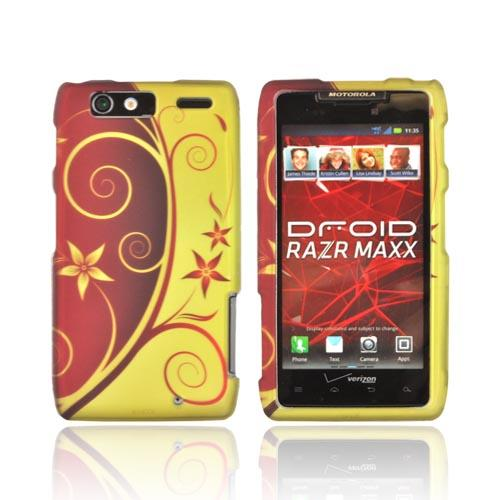 Motorola Droid RAZR MAXX Rubberized Hard Case - Red/ Gold Elegant Swirl & Flowers