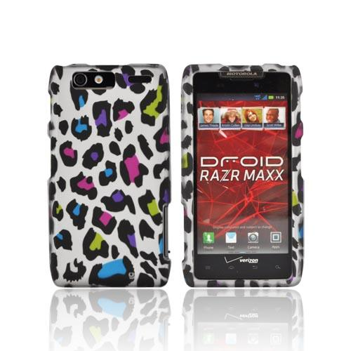 Motorola Droid RAZR MAXX Rubberized Hard Case - Colorful Leopard on Silver