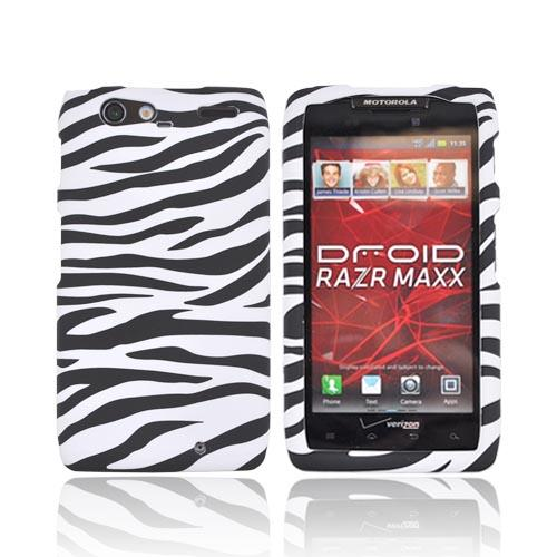 Motorola Droid RAZR MAXX Rubberized Hard Case - Black/ White Zebra