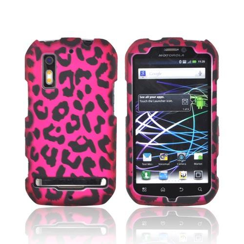 Motorola Photon 4G Rubberized Hard Case - Hot Pink/ Black Leopard