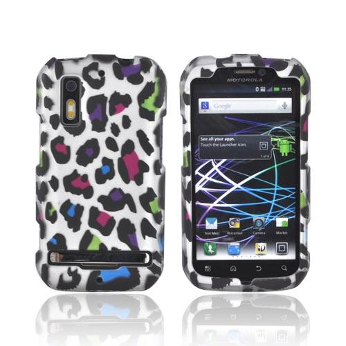 Motorola Photon 4G Rubberized Hard Case - Rainbow Leopard on Silver