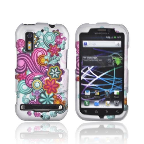 Motorola Photon 4G Rubberized Hard Case - Turquoise/ Purple Floral Burst on Silver