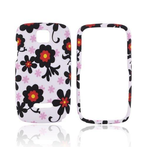 Motorola Theory Rubberized Hard Case - Black Daisies on White