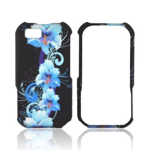 Motorola TITANIUM Rubberized Hard Case - Blue Flowers on Black