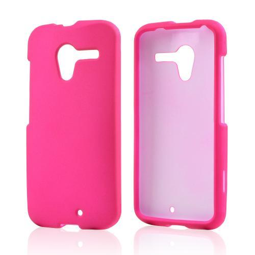 Hot Pink Rubberized Hard Case for Motorola Moto X