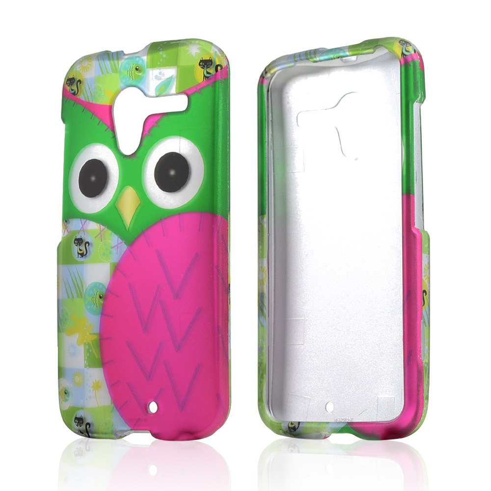 Hot Pink/ Green Owl Rubberized Hard Case for Motorola Moto X