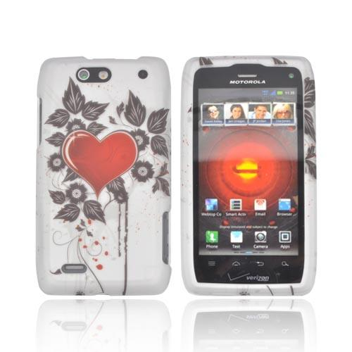 Motorola Droid 4 Rubberized Hard Case - Red Heart w/ Black Leaves on Silver