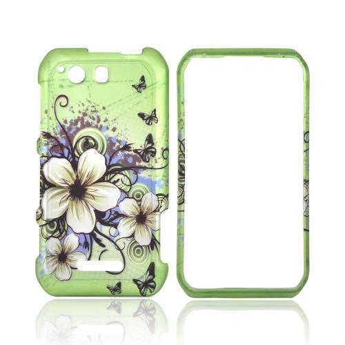 Motorola Photon Q 4G LTE Rubberized Hard Case - White Hawaiian Flowers on Green