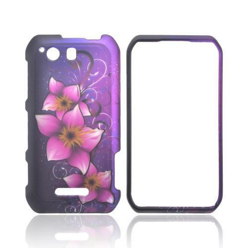 Motorola Photon Q 4G LTE Rubberized Hard Case - Hot Pink Mystical Flower on Purple