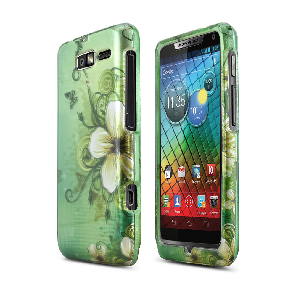 White Hawaiian Flowers on Green Rubberized Hard Case for Motorola Droid RAZR M