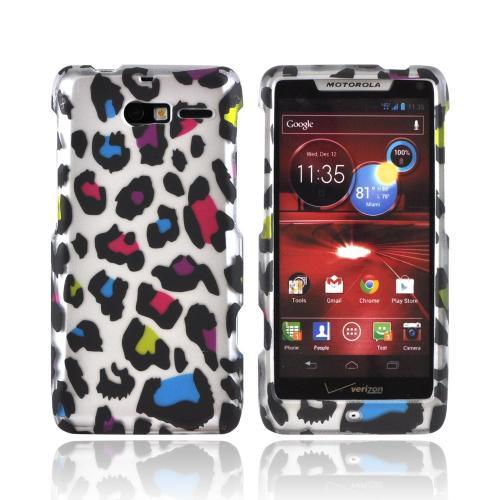 Motorola Droid RAZR M Rubberized Hard Case - Rainbow Leopard on Silver