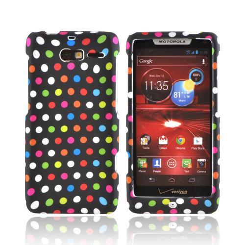 Motorola Droid RAZR M Rubberized Hard Case - Rainbow Polka Dots on Black
