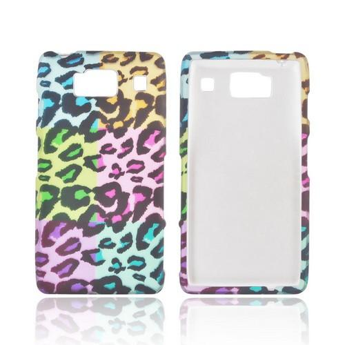 Motorola Droid RAZR HD Rubberized Hard Case - Multi-Colored Artsy Leopard