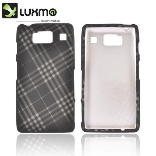 Motorola Droid RAZR HD Rubberized Hard Case - Gray/ Black Plaid