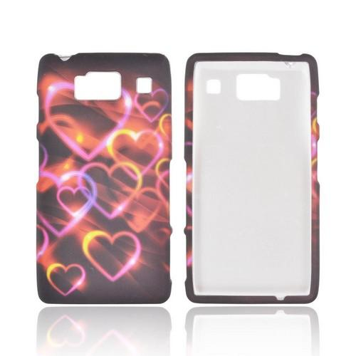 Motorola Droid RAZR HD Rubberized Hard Case - Pink/ Gold Hearts on Espresso Brown