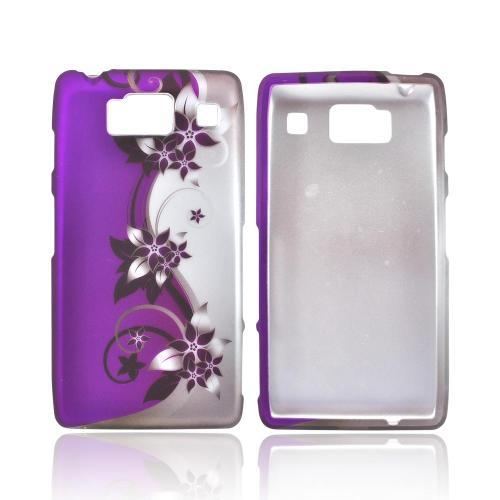Motorola Droid RAZR HD Rubberized Hard Case - Purple Vines/ Flowers on Silver