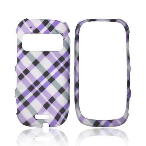 Nokia Astound C7-00 Rubberized Hard Case - Purple & Black Plaid