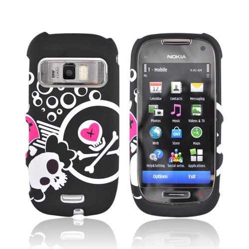 Nokia Astound C7-00 Rubberized Hard Case - White Skull & Pink Hearts on Black