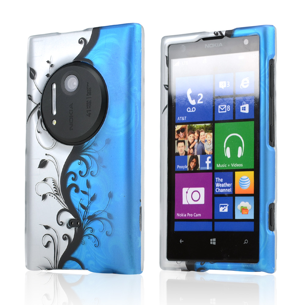 Black Vines on Silver/ Blue Rubberized Hard Case for Nokia Lumia 1020