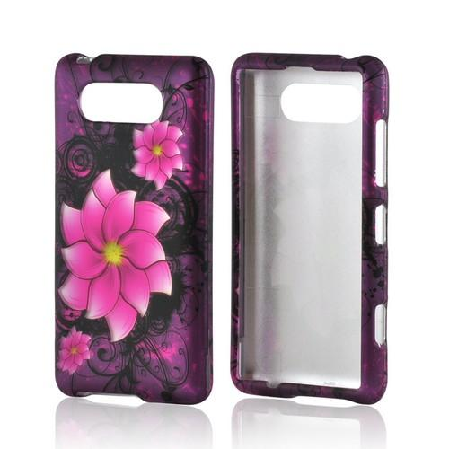 Hot Pink Divine Flower on Purple Rubberized Hard Case for Nokia Lumia 820