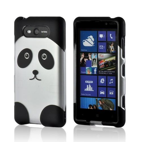 Black/ Silver Panda Rubberized Hard Case for Nokia Lumia 820