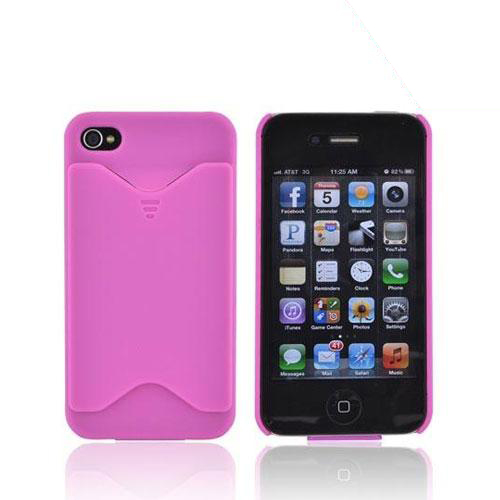 AT&T/ Verizon Apple iPhone 4, iPhone 4S Rubberized Back Cover w/ ID Slot - Magenta