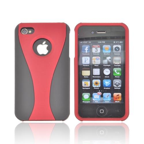 AT&T/ Verizon Apple iPhone 4, iPhone 4S Rubberized Hard Case - Red/ Black