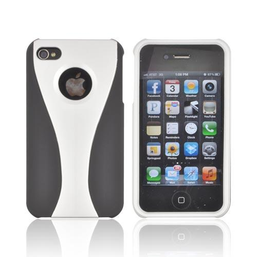 AT&T/ Verizon Apple iPhone 4, iPhone 4S Rubberized Hard Case - Silver/ Black