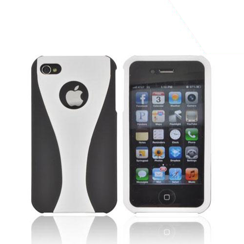 AT&T/ Verizon Apple iPhone 4, iPhone 4S Rubberized Hard Case - White/ Black