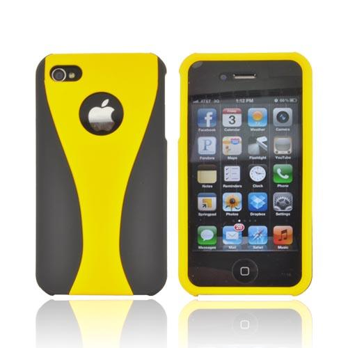 AT&T/ Verizon Apple iPhone 4, iPhone 4S Rubberized Hard Case - Yellow/ Black