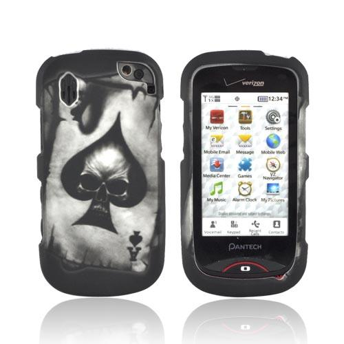 Pantech Hotshot Rubberized Hard Case - Ace Skull on Gray