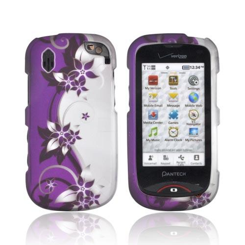 Pantech Hotshot Rubberized Hard Case - Purple Flowers/ Vines on Silver