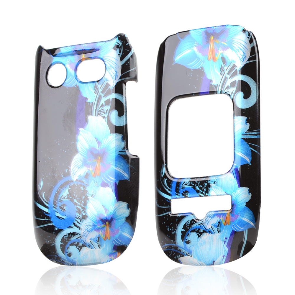 Pantech Breeze 3 Hard Case - Blue Flowers on Black