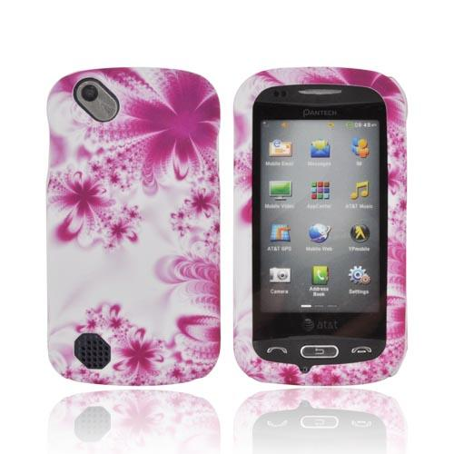 Pantech Laser P9050 Rubberized Hard Case - Purple/ White Flowers