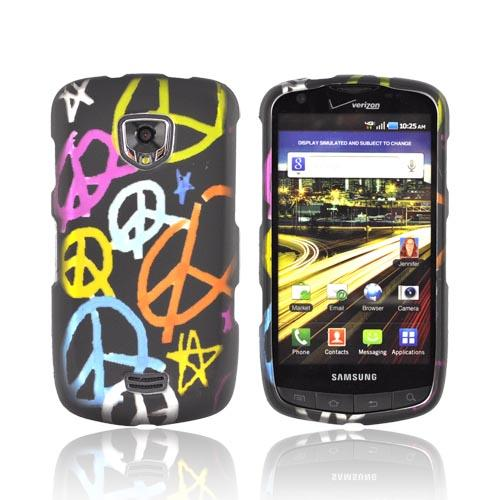Samsung Droid Charge Rubberized Hard Case - Rainbow Peace Signs on black