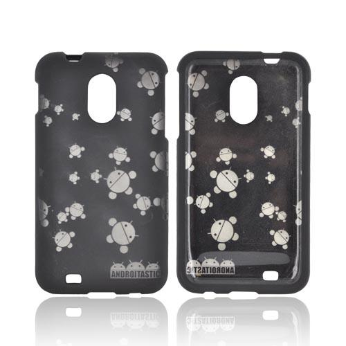 Samsung Epic 4G Touch Androitastic Rubberized Hard Case - Black Bubble Bot Invasion